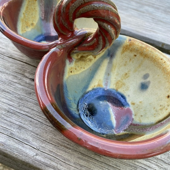 Vintage Other - Handmade Pottery Double Dip bowl